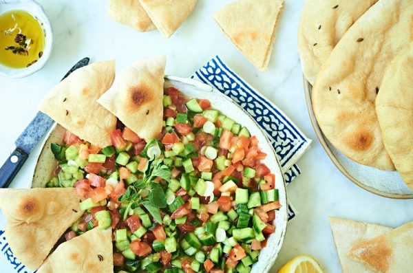 Whole Wheat Pita with Middle Eastern Chopped Salad