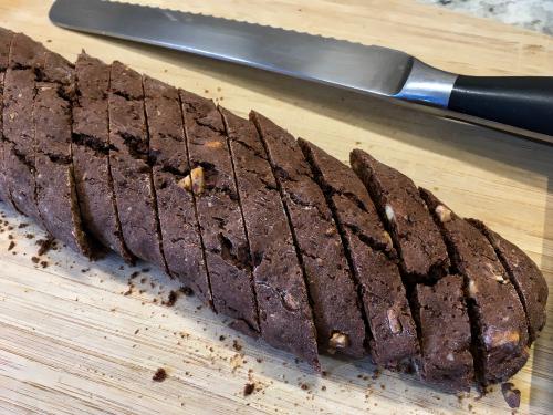 Chocolate, Raspberry, and Walnut Whole Wheat Biscotti