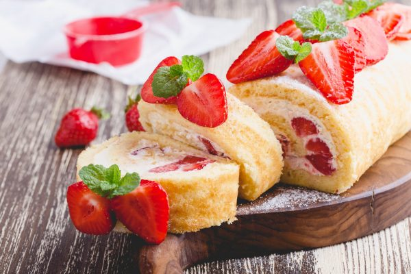 Strawberry Cream Roll Cake