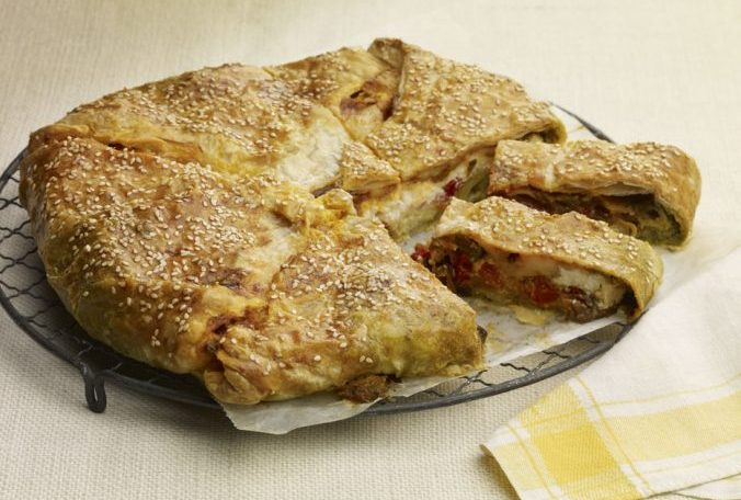 Torta Rustica With Roasted Peppers and Smoked Mozzarella