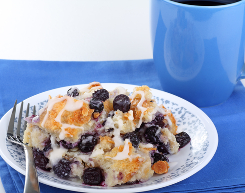 Blueberry Bread Pudding with Golden Sauce