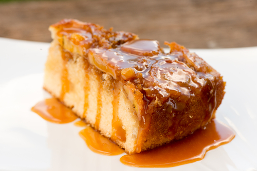 Banana Upside-Down Cake with Caramel Sauce
