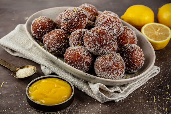 Lemon Ricotta Doughnuts with Lemon Curd Dipping Sauce