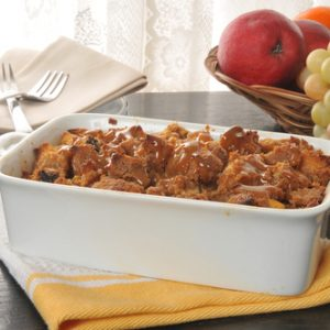 Pumpkin Spice Bread Pudding with Salted Caramel Sauce