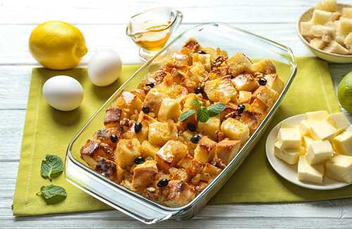 Bread pudding with Lemon Sauce